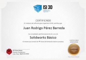 CERTIFICADO ISI3D SOLIDWORKS BASICO
